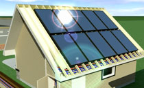 solar energy captured on garage rooftop